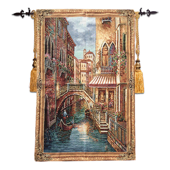 Belgian Jacquard Tapestry for living room Mediterranean style murals View of Venice 85*136cm GT-MM134