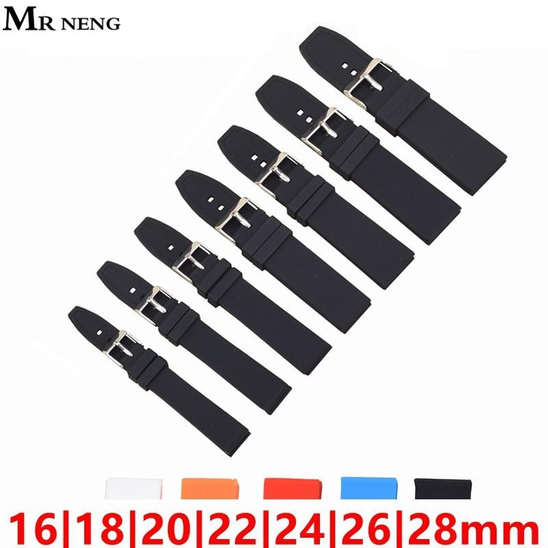 MR NENG Men Casual Watch Band Soft Silicone Rubber Waterproof Wrist Watch Band Strap 16 18 20 22 24 26 28mm Black Watchband 22mm цена