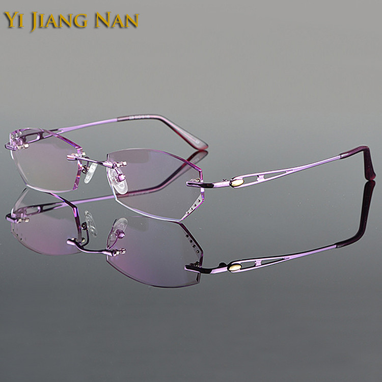 af3d7f0ae646 Yi Jiang Nan Brand Diamond Trimmed Rimless Titanium Eyeglasses Frames Women  Fashion Pink Glasses with Tint Lenses-in Eyewear Frames from Apparel  Accessories ...