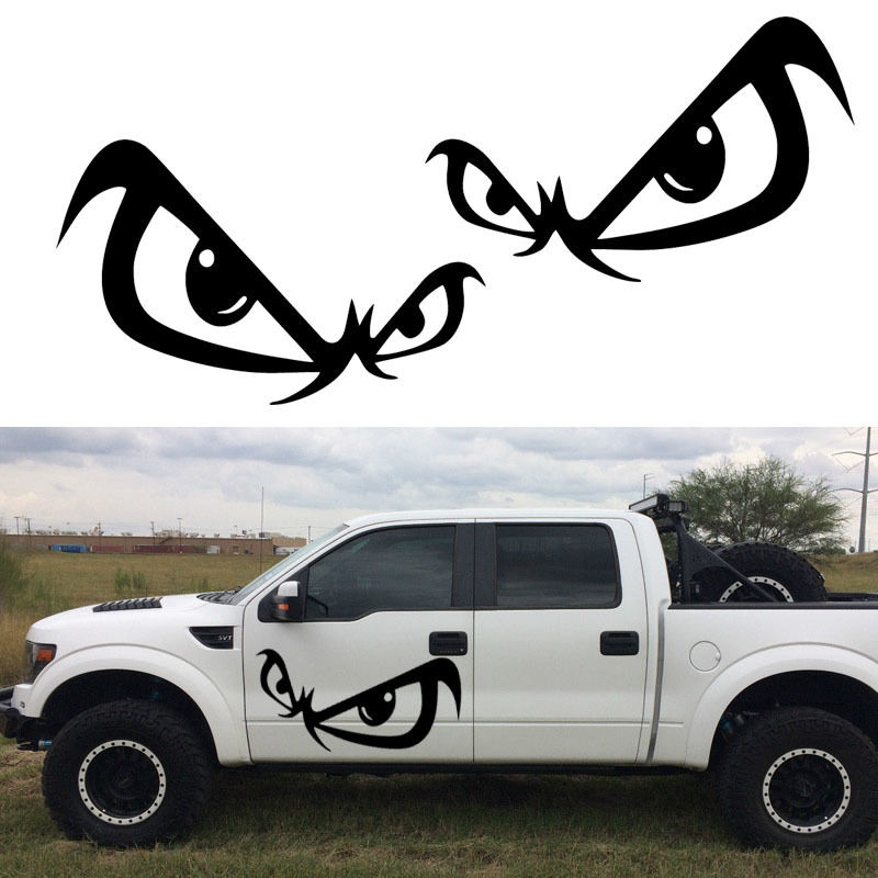 2pcs set hot no fear car door sticker vinyl decal bad boy eyes reflective 2 decals black white wall decals for tile mural d924 in wall stickers from home