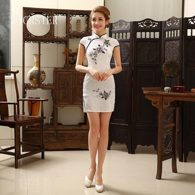 DJGRSTER Women Traditional Chinese Dress Female Short Sleeve Stand Collar Modern Cheongsam Women Floral Embroidery Qipao Dress