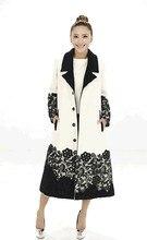 Winter Women coat 2016 Women Winter Cashmere Coat Single Breasted Lace Spliced Woolen Coat Long Jackets Parka Coats Outerwear