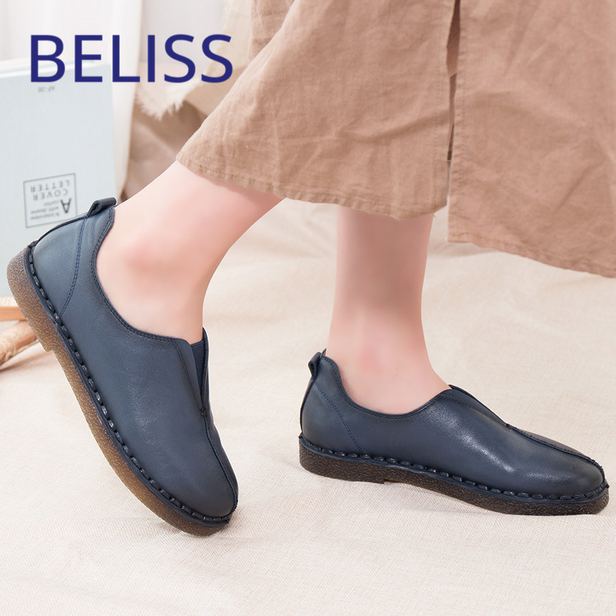 BELISS flat shoes women 2018 spring autumn genuine cow leather slip on soft comfortable casual loafers shoes women P1 цена