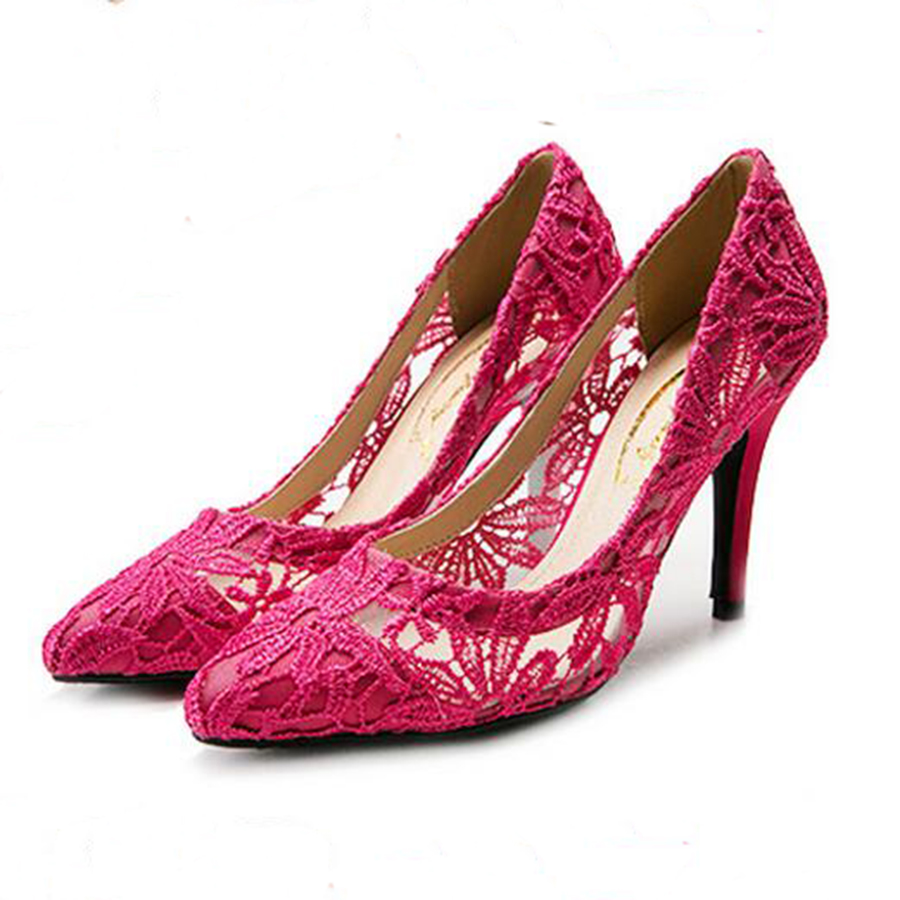 2018 New Spring Lace Pumps Women Shoes High Heel Single Shoes Plus Size Thin High Heel Black Mesh Pointed Wedding Party Shoes 10 new spring summer women pumps classic flock high heeled wedding shoes thin pink high heel shoes hollow pointed stiletto elegant
