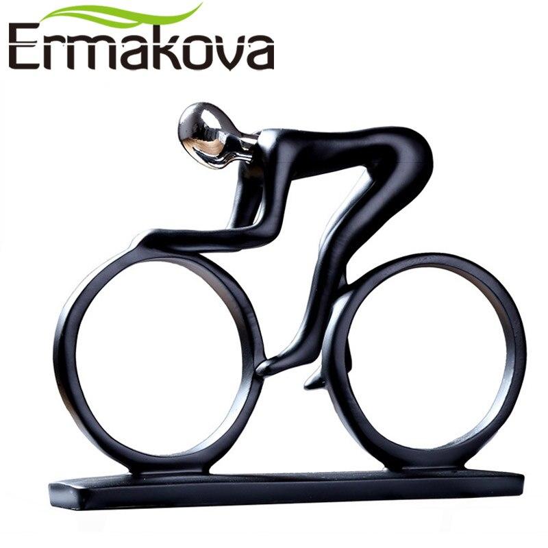 ERMAKOVA Moderne Abstraite Résine Bicycler Cycliste Statue Vélo Rider Statue Coureur De Vélo Rider Figurine Bureau Salon Décor