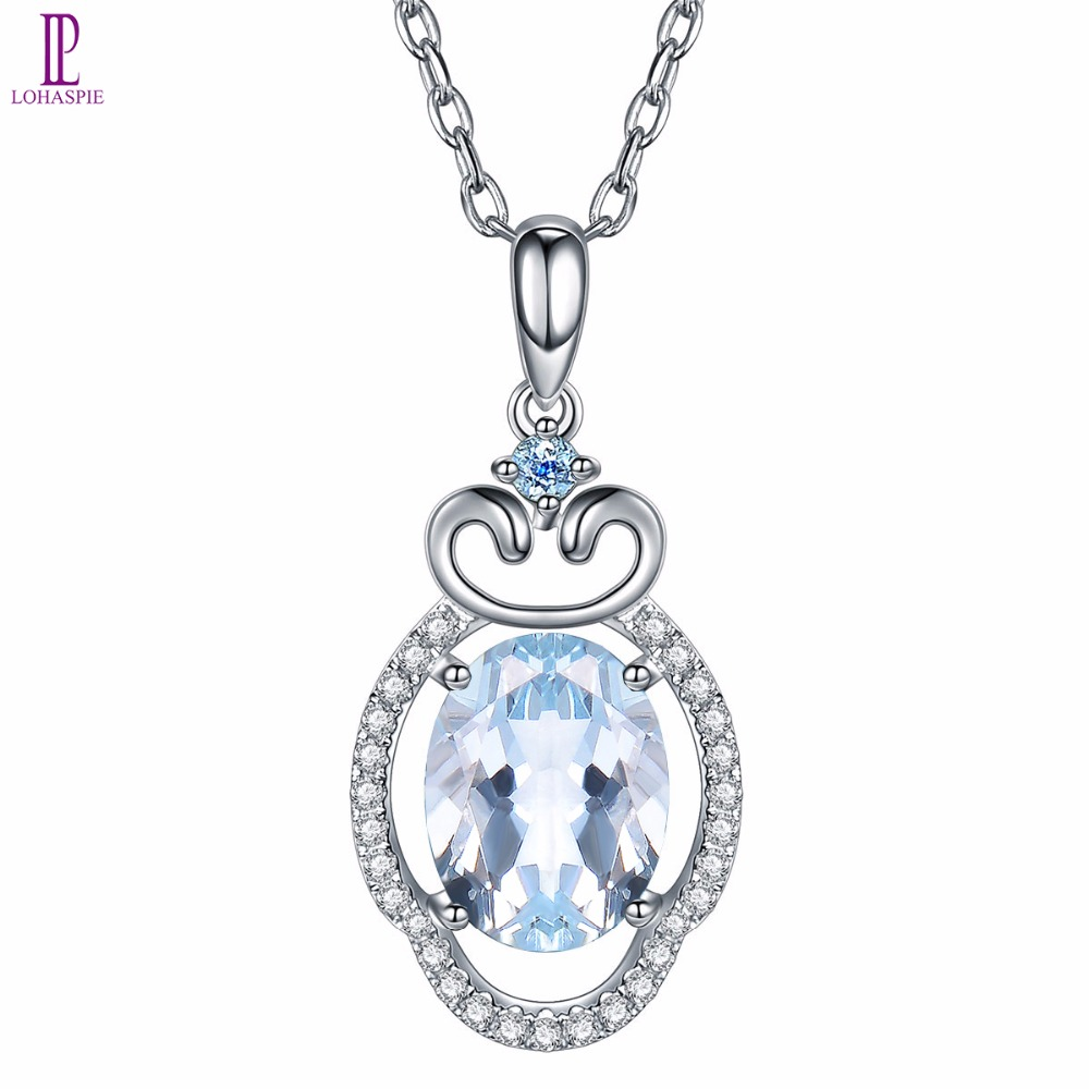 Lohaspie Diamond-Jewelry Natural Gemstone Aquamarine 18K White Gold Cloud Pendant For March Birthday Gift W/ Silver Chain Fine