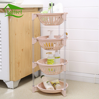 Colorful 4Pcs/Set Plastic Can Be Stacked Storage Basket Fruit And Vegetables Holders Rack Store Many Debris Kitchen Tools