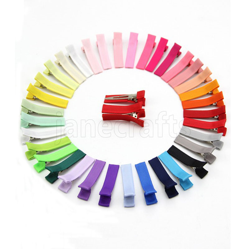 """100Pcs 13/4""""(45mm) Solid Ribbon Covered Clips Ribbon lined Alligator Hair Clips Girls Hair Accessories Drop Shipping"""