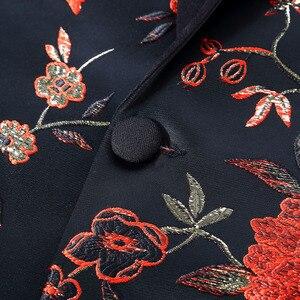 Image 4 - PYJTRL 新レッドゴールドブルーグリーンブロケード刺繍花の鳥パターンスリムフィットブレザーデザイン男性のスーツのジャケットステージ歌手着用