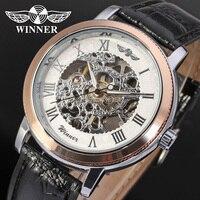 Hotsale הכי חדש עסקי שעון של גברים זוכה מכאני יד רוח השחורה רצועת עור אנלוגי שעוני יד צבע כסף WRG8002M3T2-בשעונים מכניים מתוך שעונים באתר