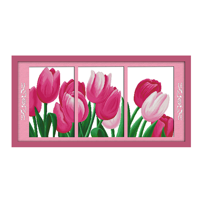 Joy Sunday cross stitch kits Champagne tulip rose DMC14CT11CT cotton ...