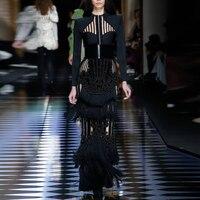 EXCELLENT QUALITY Paris Fashion 2018 Designer Runway Dress Women's Suede Luxurious Hand Work Beading Tassel Long Dress