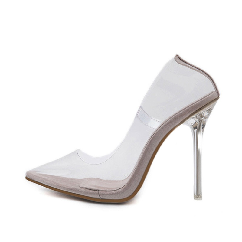 4f83d8a0869 US $9.27 40% OFF|Loecktty 2019 Clear PVC Transparent Pumps Sandals Perspex  Heel Stilettos High Heels Point Toes Womens Party Shoes Nightclub Pump-in  ...