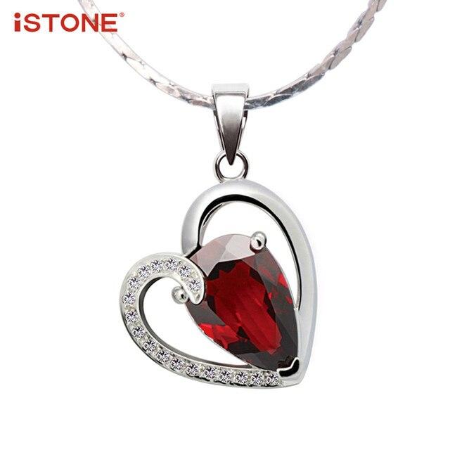 Istone red garnet heart pendant necklace with 925 sterling silver istone red garnet heart pendant necklace with 925 sterling silver necklace 100 natural gemstone fine aloadofball Gallery
