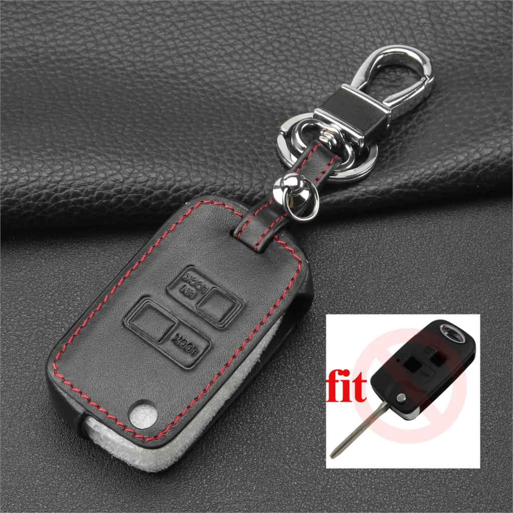 Jingyuqin 2 Buttons Leather Car key Case for Toyota Yaris ...