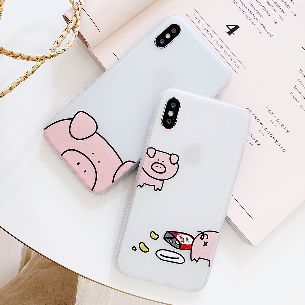 KIPX1100_4_JONSNOW Matte Case For iPhone 7 Plus 8 6 6S 6 Plus X XR XS Max Lovely Pig Baby Pattern Translucent Soft Silicone Cover Cases