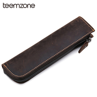 Teemzone Pencil Bag of Crazy Horse Leather Top Unisex Eyeglasses Case Pencil Box Bolt Currency Money Wallet Trend Coffee j30