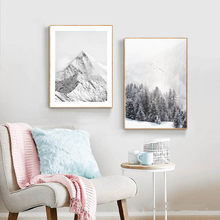 Black And White Nordic Ice Snow Mountain Painting Abstract Landscape Canvas Prints Posters Wall Art Home Decor Modular Pictures(China)