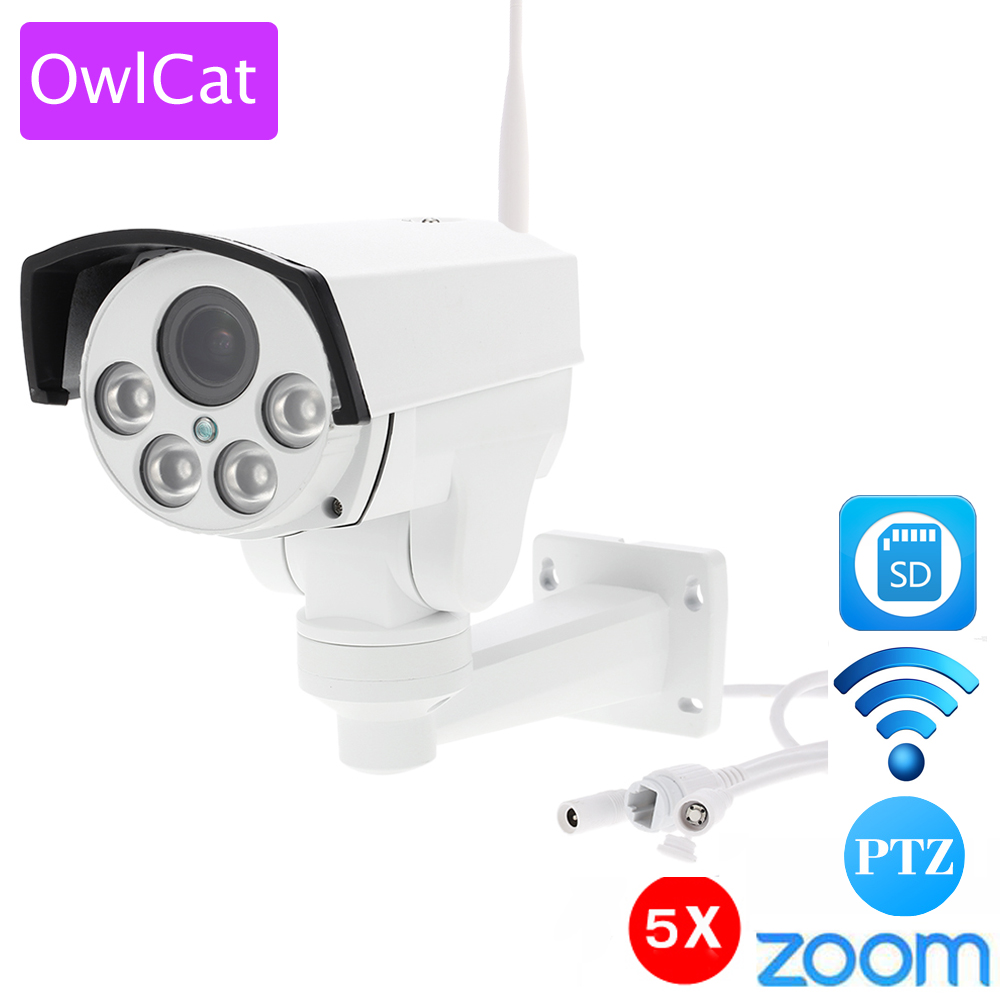 OwlCat HI3516C 1080P HD Wifi PTZ IP Camera Bullet Outdoor 5X Pan Tilt Zoom 2.7-13.5mm 2MP Wireless IR Onvif SD Card CCTV Camera