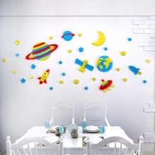 Space Star Moon 3d Acrylic Wall Sticker Childrens room Kindergarten decoration stickers cartoon bedroom wallpaper