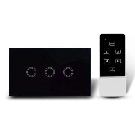 US Standard Touch Remote Control Light Switch,3Gang1Way Black Pearl Crystal Glass Wall Switch, With LED Indicator,MG-US01RC 2017 free shipping smart wall switch crystal glass panel switch us 2 gang remote control touch switch wall light switch for led