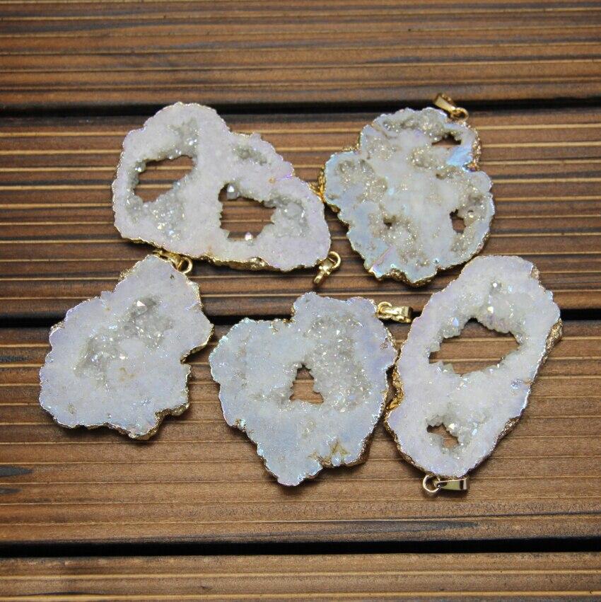 5 шт./лот позолота поручительств натуральный белый AB Титан Druzy Подвески, грубые Камни сырья Drusy купля Geode плиты кусочек для Цепочки и ожерелья