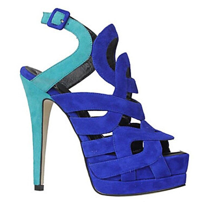 Arrière Peep Sexy Parti forme 12 À Furtado Cm Stilettos Chaussures Royal Blue Bride Toe Talons 45 2018 Arden D'été Plate Bleu Sandales WnqU8XzPX