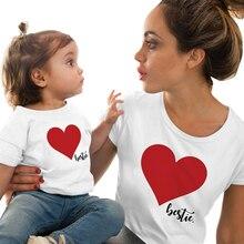 CYSINCOS/одинаковые комплекты для семьи Одежда для мамы и дочки одежда для мамы и дочки Футболка с принтом сердца милые топы, милая блузка