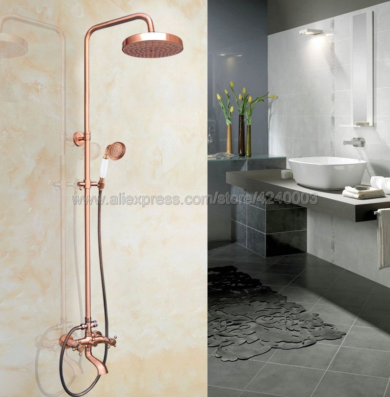Antique Red Copper Wall Mounted Shower Faucet Bathroom Rainfall Shower System Set Faucet Tub With Handheld Sprayer Krg515