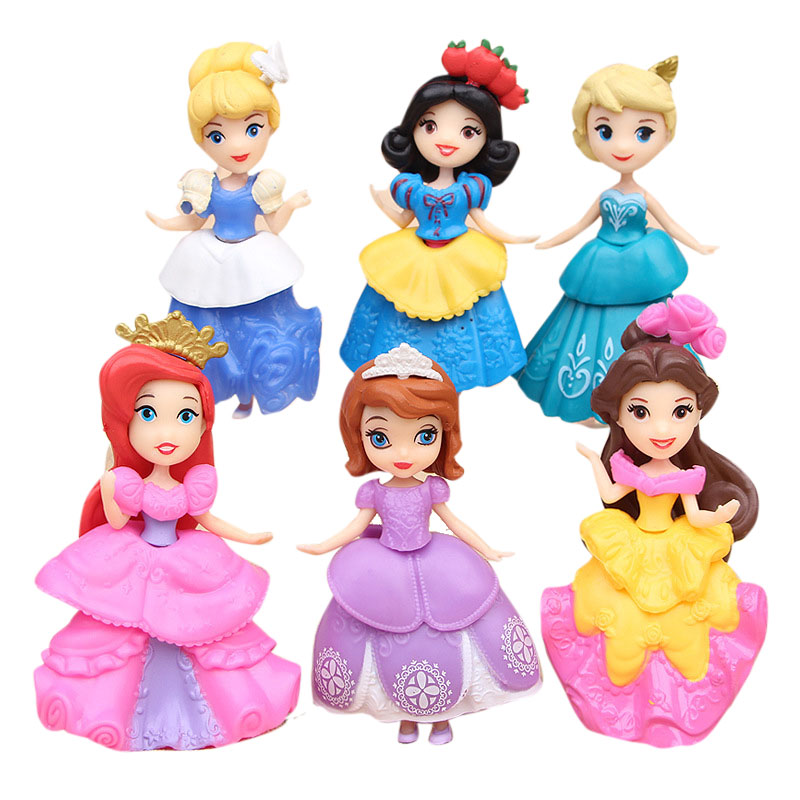 Disney Frozen Elsa Kids Personalized Gifts Snow Princess Belle Cinderella Car Doll  Vinyl Girl Action Figures Toys for Children 12pcs set children kids toys gift mini figures toys little pet animal cat dog lps action figures