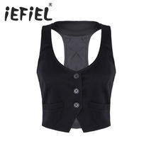 New Arrival Women Fashion V-Neck Sleeveless Button Down Fitted Racer Back Classic Vest Shirts Separate Waistcoat for Formal Wear
