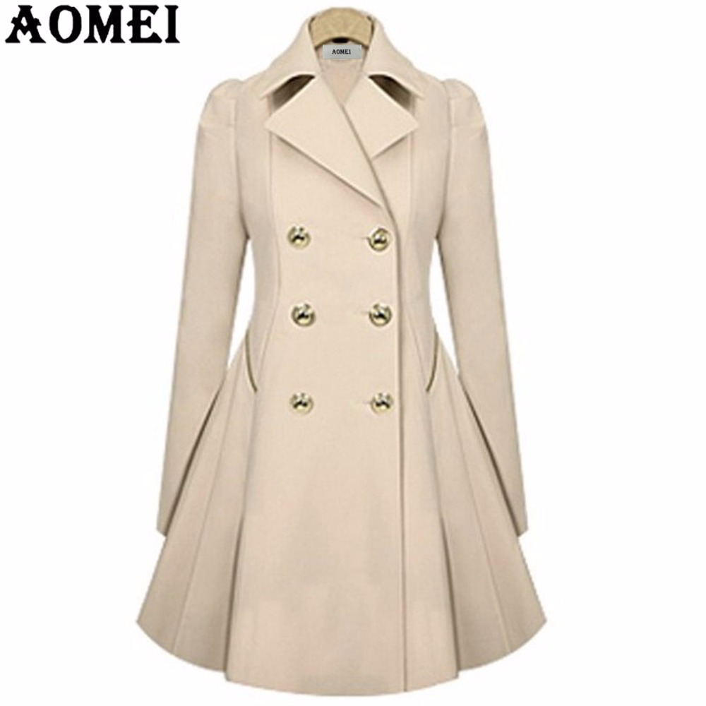 Women Spring Elegant Long Wind Coat with Double Button Navy Blue Solid Color Long Sleeves Tops Office Lady Winter   Trench   Outwear