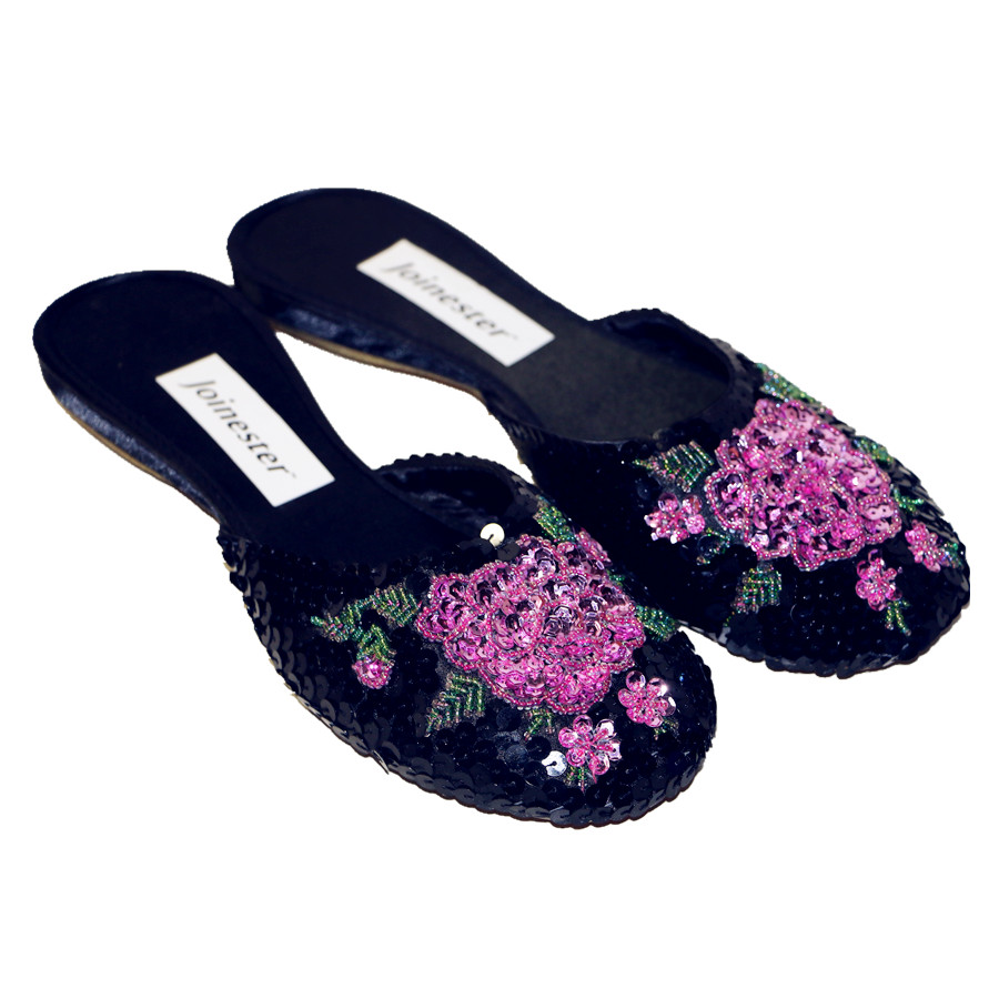 Ladies Sequins Slippers Women Outdoor Flat Slipper Silk and Satin Home Shoe Sparkling Fashion Mules Woman Vintage Summer Slides 4