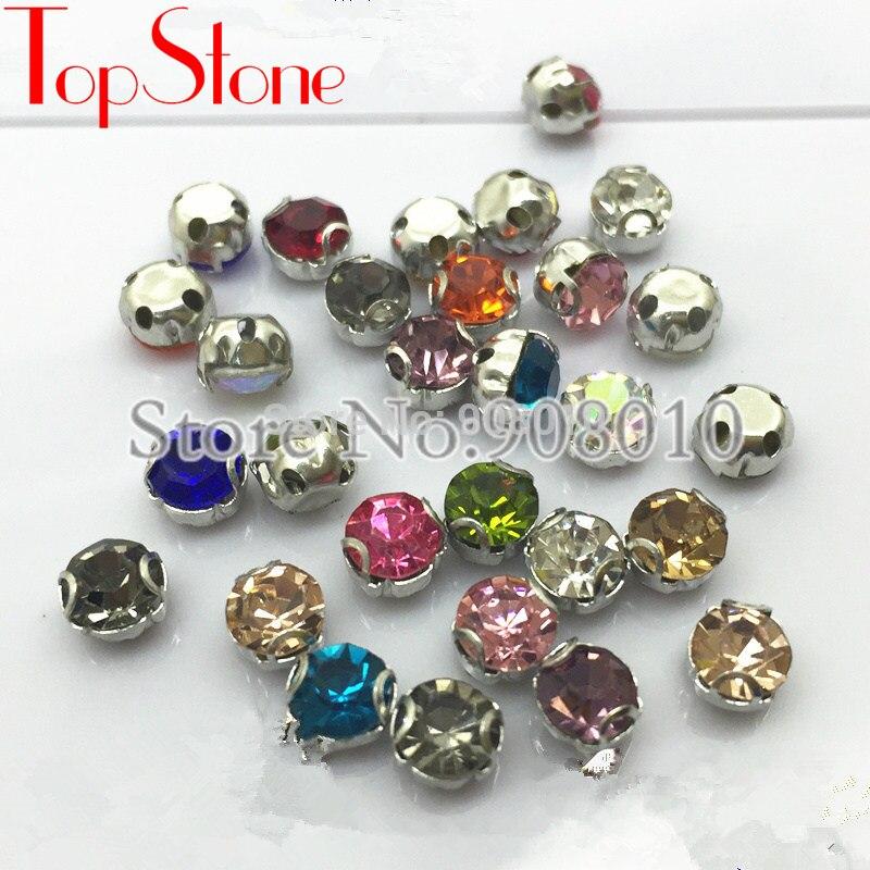 59cf221e5c New Crystal Rich Colors Round Sew on Glass Diamante Rhinestone 6/8 ...