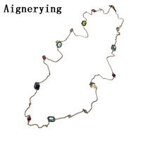 Necklaces Vintage Luxury 104cm Long crystal sweater geometry shinning crystal dress costume jewelry accessory gift box