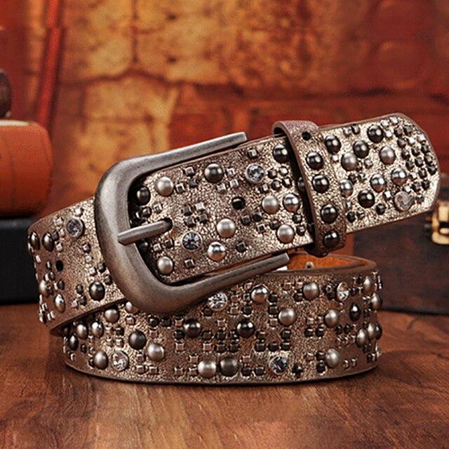 a45c041580f Luxury Rivet Punk Rock Belt Skull Buckle Cowskin Genuine Leather  Handcrafted Cintos Masculinos Women Female Hip