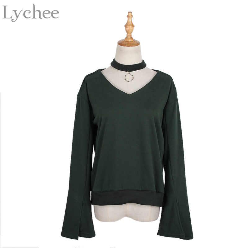 يتشي مثير أنيقة الربيع الخريف النساء بلوزة الرسن حلقة مضيئة كم Casua قميص فضفاض المحملة الأعلى