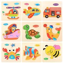 DDWE деревянные Мультяшные Пазлы игрушки 3d деревянные животные аниме детские игрушки безопасность Раннее Образование головоломки игрушки для детей Подарки