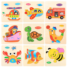 DDWE Wooden Cartoon Puzzles Toys 3d Wood Animal Anime Kids Toy Safety Early Education Puzzle Toys For Children Gifts