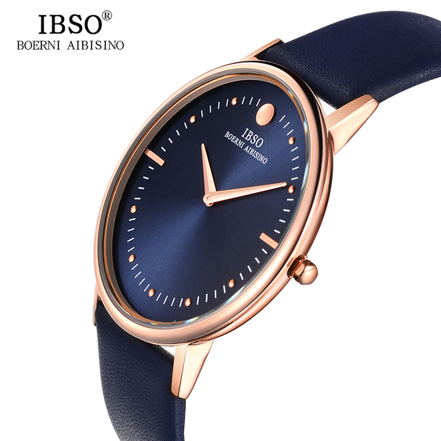IBSO Top Brand Luxury 7.5MM Ultra-thin Dial Genuine Leather Strap Quartz Watch