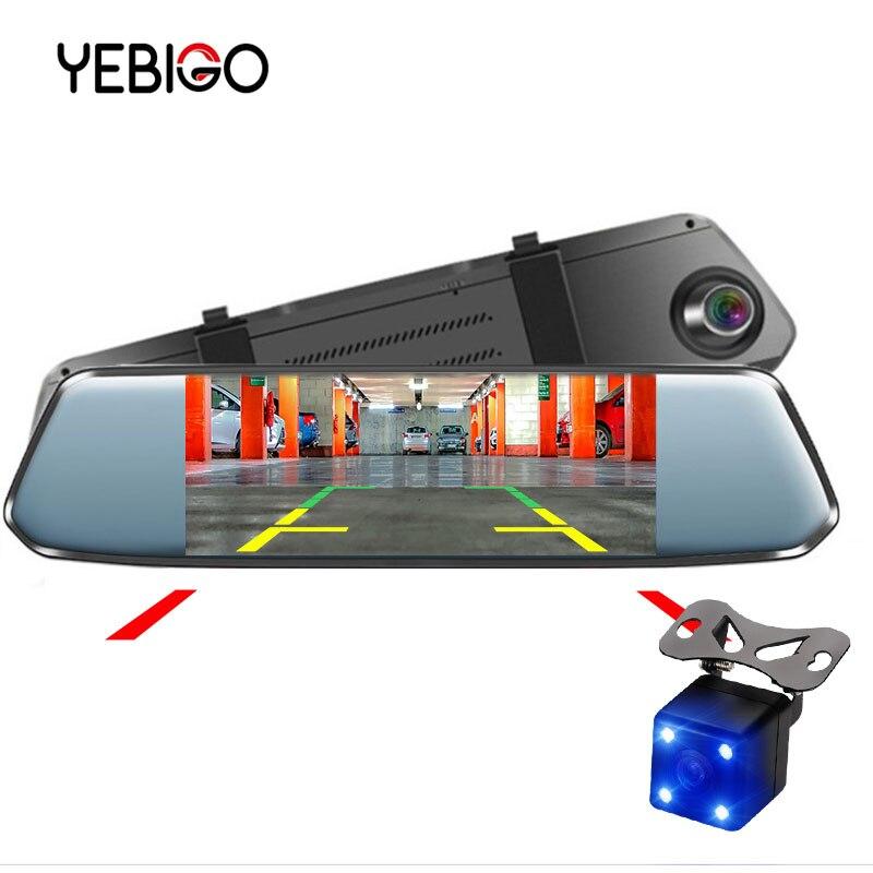 YEBIGO Voiture caméra dvr Double Lentille 7.0 pouces Full HD 1080 P Dashcam rétroviseur enregistreur vidéo Registrator caméra embarquée pour voiture Dash Cam 7