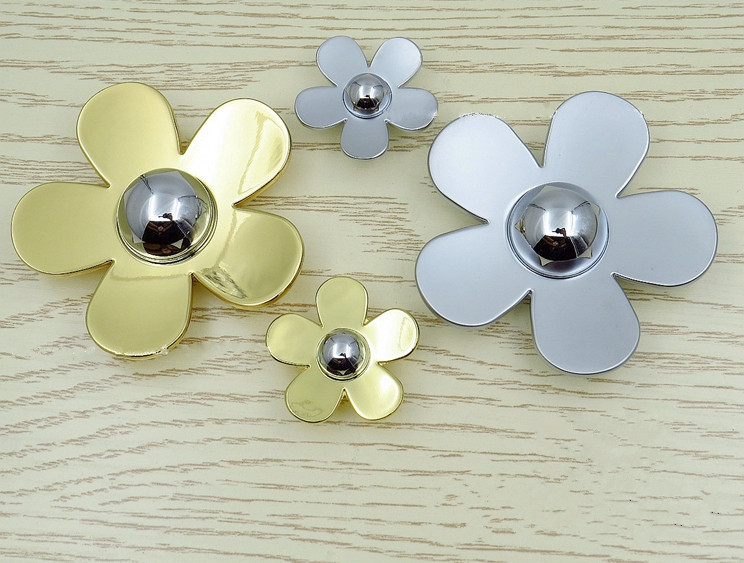 Flower Zinc Alloy Handle Modern Cabinet Children Pull