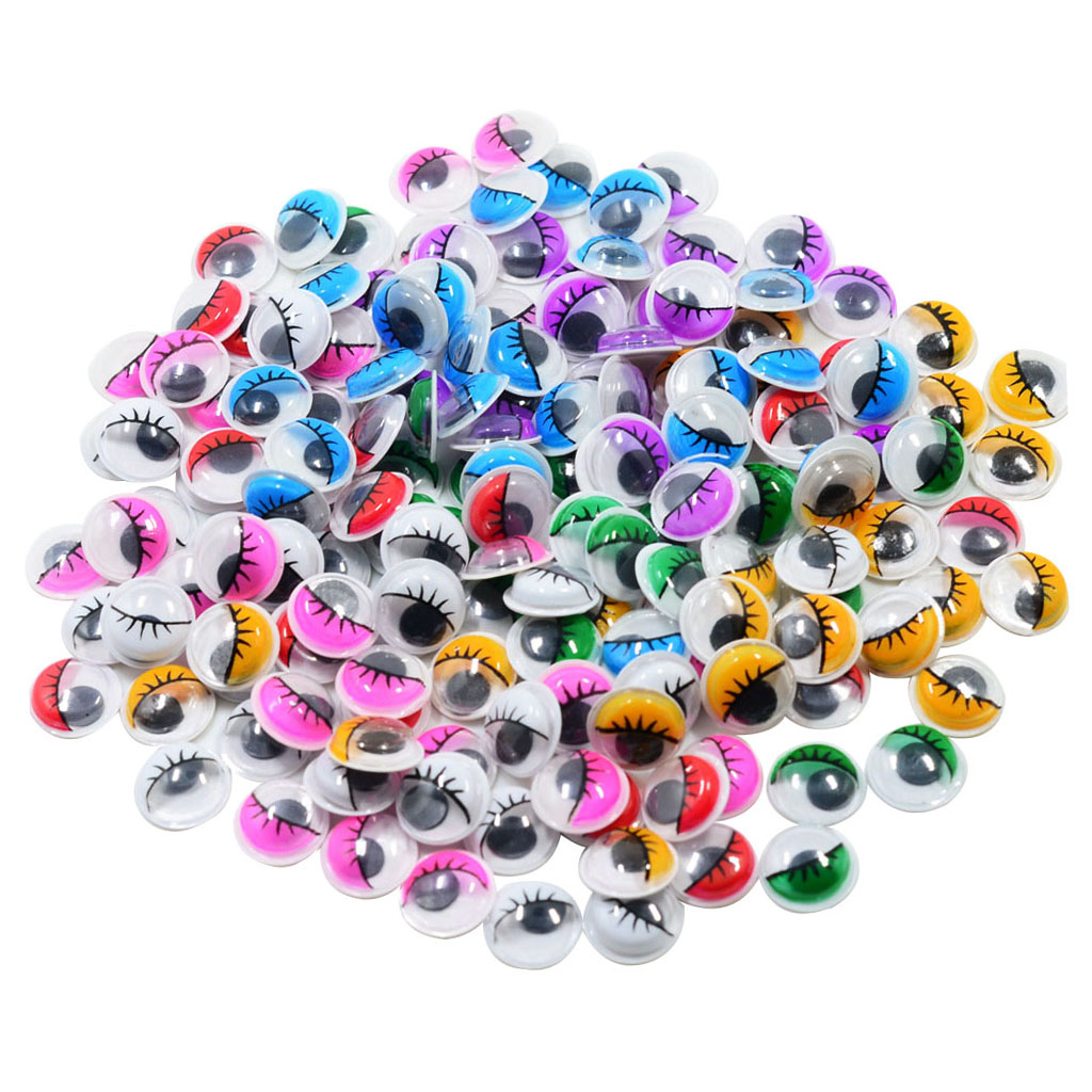 fityle 168 Pieces Plastic Self Adhesive Sticky Wiggle Eyelash Eyes Assorted Color 12mm DIY Crafts Handmade Accessories