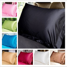 Modern Chinese silk Double Face Envelope Pillow Case for bed Pillowcase Camel very smooth Satin silk Multiple Colors 48x74cm
