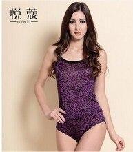 Ms knitted silk leopard print condole belt vest 100% mulberry silk