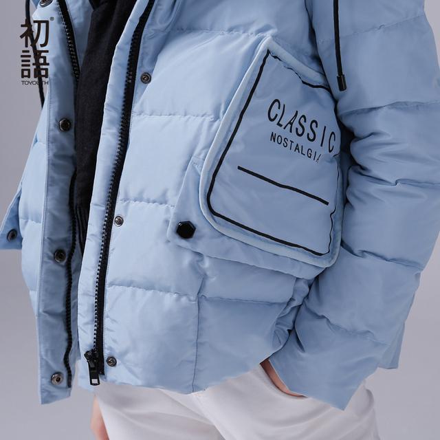 Toyouth Ultra Light dół płaszcze biały 80% kaczka dół kurtki kobiety z krótkim Parkas Winter Big kieszenie w dół Parkas list Coat
