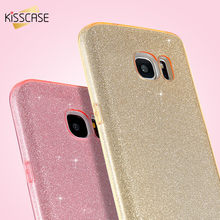 KISSCASE Sweet Bling Powder Case For Samsung Galaxy S7 Shiny PC + TPU Girly Pink Cover For Samsung S7 Edge Ultra Thin Case Capa