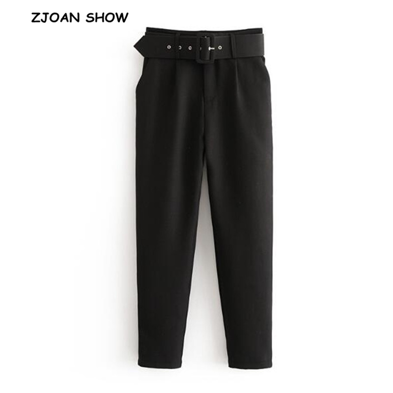 Retro Black Solid Color Pencil Pants With Belt New 2018 Casual Woman Buckle Sashes Waist Full Length Trousers Femme Slim Pants