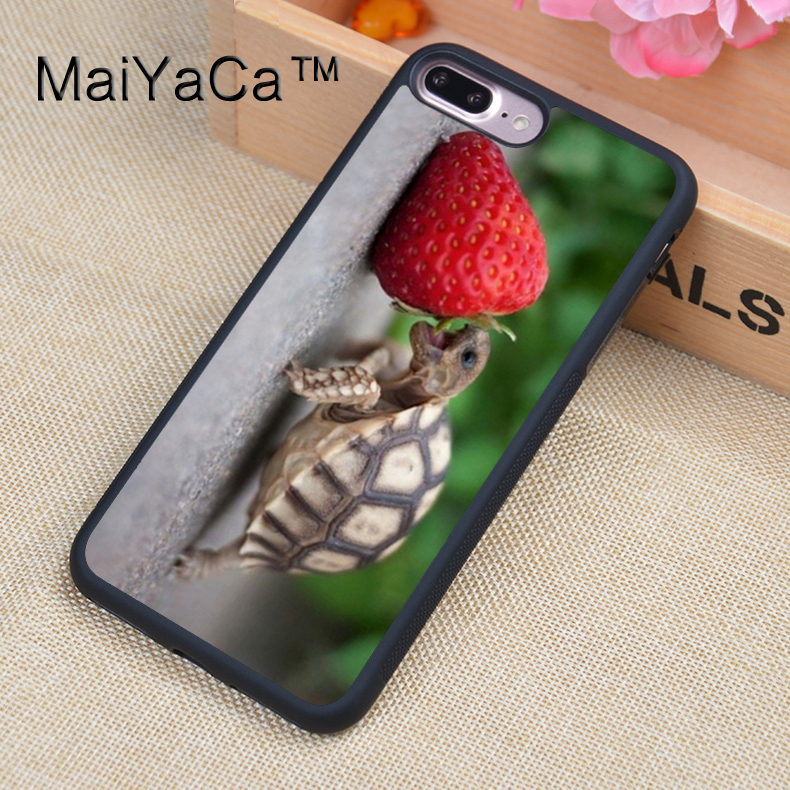 MaiYaCa Baby Turtle Eating Strawberry Cute Funny Phone Case For iPhone 7Plus Soft TPU PC Back Cover For Apple iPhone 7 Plus