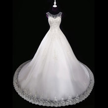 XINGFUYANG Beaded Wedding Dress Basque Waistline Scalloped Neck robe de mariage White vestido de noiva Hijab